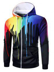 Paint Dripping Print Zip Up Hoodie