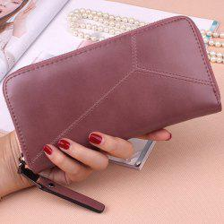 PU Leather Clutch Wallet - PINKISH PURPLE