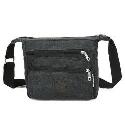 Canvas Multi Zips Crossbody Bag