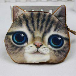 Plush Insert 3D Cat Print Coin Purse