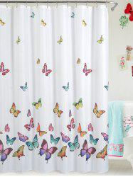 Butterfly Print Polyester Waterproof Bath Shower Curtain - WHITE