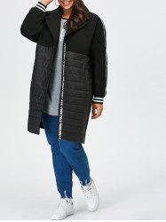 Plus Size Striped Trim Shift Coat