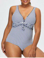 Plus Size Striped One-Piece Swimwear