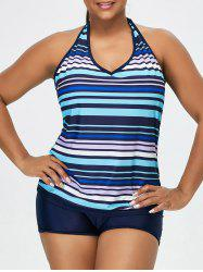 Plus Size Striped Halter Padded Tankini - PURPLISH BLUE
