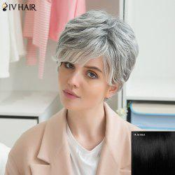 Siv Human Hair Side Bang Short Fluffy Straight Wig