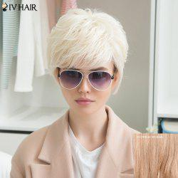 Siv Human Hair Fluffy Side Bang Short Straight Wig