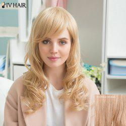 Siv Human Hair Long Side Bang Wavy Wig