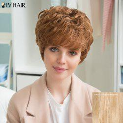 Siv Human Hair Short Full Bang Wavy Wig