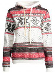 Plus Size Snowflake Pattern Drawstring Christmas Hoodie - WHITE