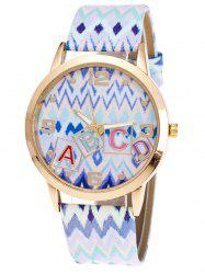 Wave Print Letter Quartz Watch