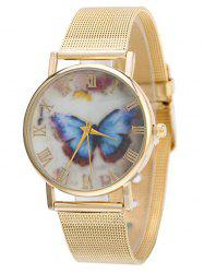 Metal Mesh Band Butterfly Analog Watch -