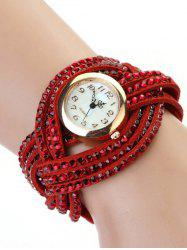 Rhinestone Number Twist Bracelet Watch