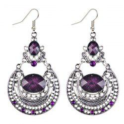 Oval Fake Gem Hollowed Antique Drop Earrings - PURPLE
