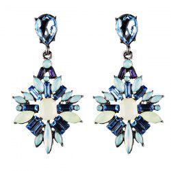 Fake Gem Water Drop Hollowed Earrings -