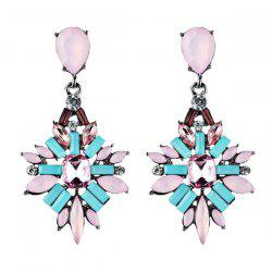 Fake Gem Water Drop Hollowed Earrings
