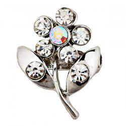 Rhinestone Plant Hollowed Alloy Flower Brooch - #05