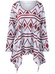 Plus Size Geometric Print Asymmetrical Hoodie - RED WITH WHITE