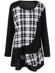 Plus Size Plaid Trim Overlay Long Sleeve T-Shirt