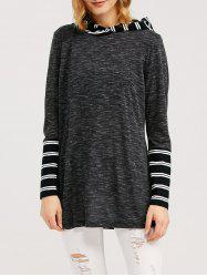Striped Trim Hooded T-Shirt