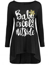 Christmas Snowflake Graphic Tunic T-Shirt Dress