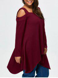 Plus Size Cold Shoulder Asymmetrical Tee