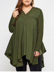 Plus Size Long Sleeves Asymmetric Blouse