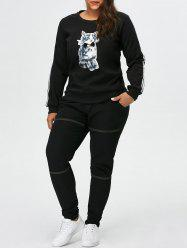 Plus Size Kitten Pattern Fleece Sweatshirt -