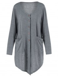 Button Up Asymmetrical Plus Size Long Knit Cardigan with Pockets - GRAY