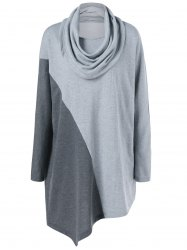 Plus Size Cowl Neck Asymmetrical Tee