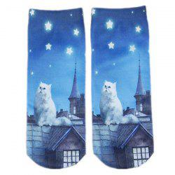 Cartoon Rooftop Cat Printed Crazy Socks - BLUE