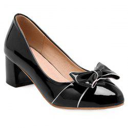 Patent Leather Bowknot Chunky Heel Pumps