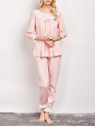 Ruffles Stripe Pajamas Sleepwear Sets