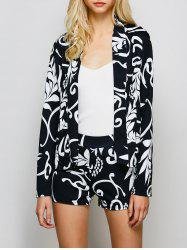 Open Front Printed Blazer and Shorts