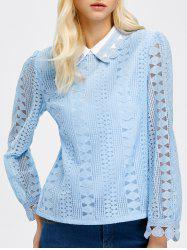 Flat Collar Lace Openwork Long Sleeve Blouse -