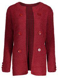 Button Long Chunky Cardigan - DEEP RED