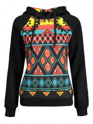 Drawstring Geometric Christmas Patterned Hoodies