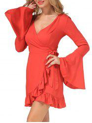 Plunging Neck Flounce Wrap Dress