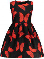 Sleeveless Butterfly Pattern Fit and  Flare Dress
