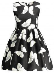 Sleeveless Butterfly Printed A Line Dress