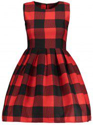 Sleeveless Checked Fit and  Flare Dress -