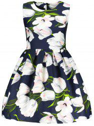 Flower 3D Print Fit and  Flare Dress