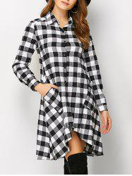 Plaid High Low Flannel Polo Shirt Dress - WHITE