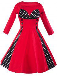 Retro Sweatheart Neck Polka Dot Flare Corset Dress
