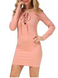 Long Sleeve Lace Up Slimming Dress
