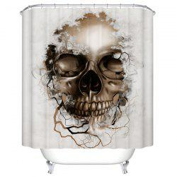 Skull Print Mildewproof Waterproof Bath Shower Curtain - WHITE
