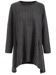 Plus Size Asymmetrical Pullover Sweater - DEEP GRAY