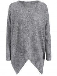 Asymmetrical Ribbed Plus Size Crew Neck Sweater - GRAY