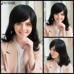 Siv Human Hair Medium Side Bang Tail Curly Wig