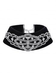 Velvet Rhinestone Fake High Collar Necklace