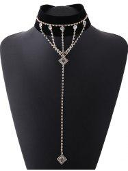 Layered Rhinestone Square Drop Velvet Choker